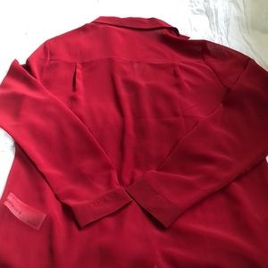 Forever 21 Tops - Forever 21 See through long sleeve red button down